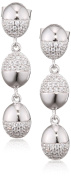 Fiorelli Silver Organic Pave Oval Drop Earrings