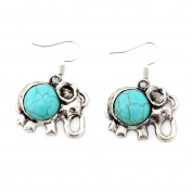 Antique Silver Plated Ethnic 3D Turquoise Elephant Charm Womens Hook Dangle Drop Earrings