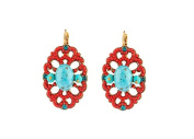 "SATELLITE Women's ""Stromboli"" Gold Plated Brass Turquoise Stones Drop Earrings"