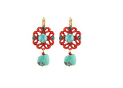 "SATELLITE Women's ""Stromboli"" Gold Plated Brass Red Flora Turquoise Centre Drop Earrings"