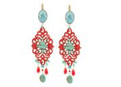 "SATELLITE Women's ""Stromboli"" Gold Plated Brass Oval Turquoise Red Chandelier Drop Earrings"