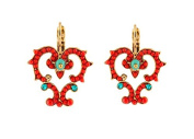 "SATELLITE Women's ""Stromboli"" Gold Plated Brass Red Heart with Turquoise Stones Drop Earrings"