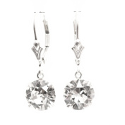Sterling Silver lever back earrings expertly made with sparkling Diamond White crystal from ®