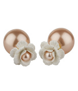 """SIX """"Trend"""" Statement Earring, Stud with White Rose and Rosy Faux Pearl, Big Faux Pearl as Closure, Front Back Double Sided for Women Party"""