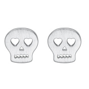 925 Sterling Silver Plated Skull With Hollow Heart eyes Womens Stud Earrings,7MM