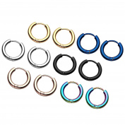 Zysta 12pcs Stainless Steel Mixed 6 colours, 8-20MM Small Round Tube Endless Hoop Earrings, Hypoallergenic for Cartilage, Nose, Ears, Tragus