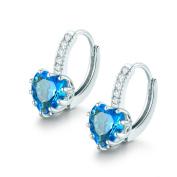 Hanie Silver Tone Huggie Hoop Earrings Aquamarine Colour Heart Zircon CZ Leverback