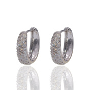 Hanie sparkly Hoop earrings Silver Tone Oval White Round Pave Cubic ZirconHuggie