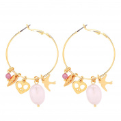 Front Row Gold Colour Charms and Pink Beads Hoop Earrings