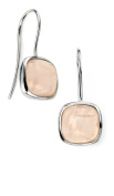 Elements Silver Sterling Silver Rose Gold Square Cabochon Moonstone Earrings