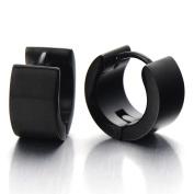 Pair of Black Huggie Hinged Hoop Earrings Unisex Men Women