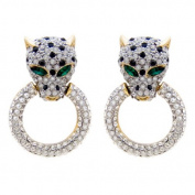 Butler and Wilson Leopard Head and Ring Earrings
