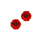The Peace Poppy Earrings, Enamel 18ct Gold Plated with 18ct Gold Highlights Small Pierced Earrings set with Crystal