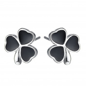 S925 Sterling Silver Plated Vintage Black Onyx Agate three clover leaf Womens Stud Earrings