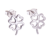925 Stamped Open Clover Silver Earrings in GIFT BOX