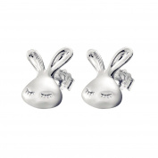 925 Sterling Silver Plated Vintage Smooth Lovely Rabbit design Womens Stud Earrings,10MM