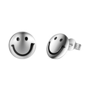 925 Sterling Silver Plated Vintage Round Black emoji Smiling Face Womens Stud Earrings,10MM