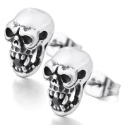 MENDINO Vampire Zombie Skeleton Head Bite Stud Earring Zircon Stainless Steel Mens Womens Silver Black Colour With 1X Velvet Gift Pouch