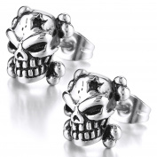 MENDINO Gothic Skull Head Star Stud Earrings Cubic Zirconia CZ Vintage Mens Stainless Steel Silver Black Colour 2 Pcs with Velvet Pouch