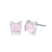 Sewanz Women's Sterling Silver Rose Quartz Stud Earrings, Lovely Cat Jewellery Accessories 7MM