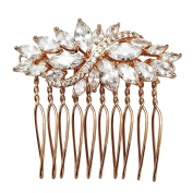 SELOVO Bridal Hair Comb Pin Leaf Marquise Shape Cubic Zirconia Rose Gold Tone