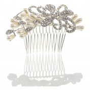 SHMILY Pearl Rhinestone Hair Comb Alice Band Hair Accessory Wedding Bridal Jewellery Silver New HS1002