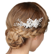 Bridal Vintage Silver Hair Comb Crystal Rhinestone Pearl Flower Wedding Hair Accessories