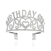 SWEETV Birthday Girl Rhinestone Princess Crown Tiara Celebration Party Hair Accessories