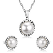 LUXUSTEEL Mother's Day Gifts Genuine Freshwater White Elegant Retro Gothic Lolita Pearl Ball Pendant Necklace Choker and Earring Studs for Woman