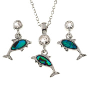 BellaMira Abalone Silver Plated Dolphin Necklace & Earrings Natural Paua Shell Jewellery Set Gift Boxed