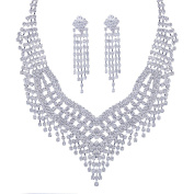 Santfe Women's Rhinestone Statement Necklace Earring Set Wedding Bridal Prom Party Jewellery Set