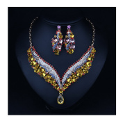 Hamer Costume jewellery Crystal Choker Pendant Statement Chain Charm Necklace and Earrings Sets Women