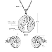 LUXUSTEEL Mother's Day Gifts, . Summer Tree Pendant Necklace and Earring Studs Set for Woman