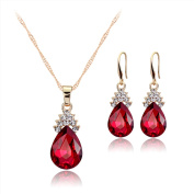 Hanie Pendant Necklace Hook Earrings Jewellery Set Gold Tone Pear Red Crystal