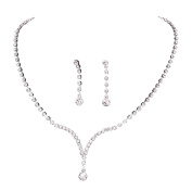 TreasureBay Stunning Crystal Clear Diamante Necklace and Earrings Bridal Jewellery Set