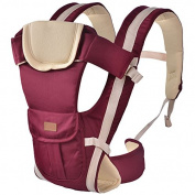 ThreeH Baby Carrier Soft Organic Fabric Cotton & Polyester 3 Carry Positions BC08,Red