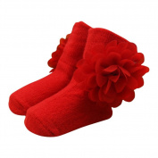 BOBORA Newborn Baby Girl Socks Big Flower Princess Socks One Size 0-6Months