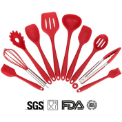 Soledi Cooking Utensils Silicone Kitchen Utensil 10 Pieces utensil set - Turner,Large Spoonula,Small Spoonula,Basting Brush,Whisk,Pasta Fork,Spoonula,Tong,Slotted Spoon,Ladle