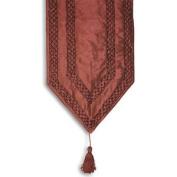 Paoletti Mozart Beaded Faux Silk Tasselled Table Runner, Damson, 33cm X 180cm