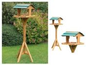 Deluxe Bird Table Feeding Station Wooden Feeder Garden Wood House Free Standing