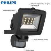 Philips 17522/30/10 Black Outdoor Home Security Led Floodlight, Motion Sensor