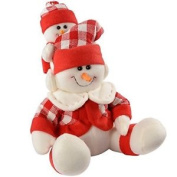 Werchristmas 23 Cm Sitting Snowman With Little Table Decoration, Red/ White