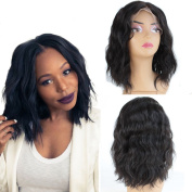 ZanaWigs Fashion Style Unprocessed Short Brazilian Virgin Human Hair Lace Front Wig Wavy Black Bob Wigs With Baby Hair