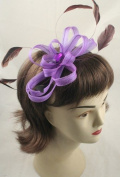 Aliceband - Looped ribbon & feather fascinator black satin headband alice band