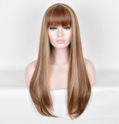 HappyBeauty Long Brown Wigs – Natural, Fashionable and Heat Resistant Straight Wigs, High Quality Cosplay Party Wig with Bangs 28Inch