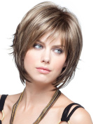 MIKWIG Women's Layered Brown Straight Wig-Natural Boycut Synthetic Hair Wigs with Free Wig Cap