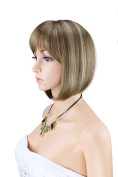 Kalyss Women's Straight Short Bob . Heat Resistant Synthetic Natural Mix Brown Colour Full Hair Wig with Hair Bangs