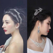 Cheap4uk Double Band Rhinestone Tiara Wedding Leaves Shiny Hair Headband Tiara