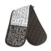 Luxury Cook Kitchen Double Oven Gloves Black White Thick 100% Cotton