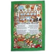 Kitchen Prayer 100% Cotton Tea Towel Green Recipe Vegetables Picture Teatowel